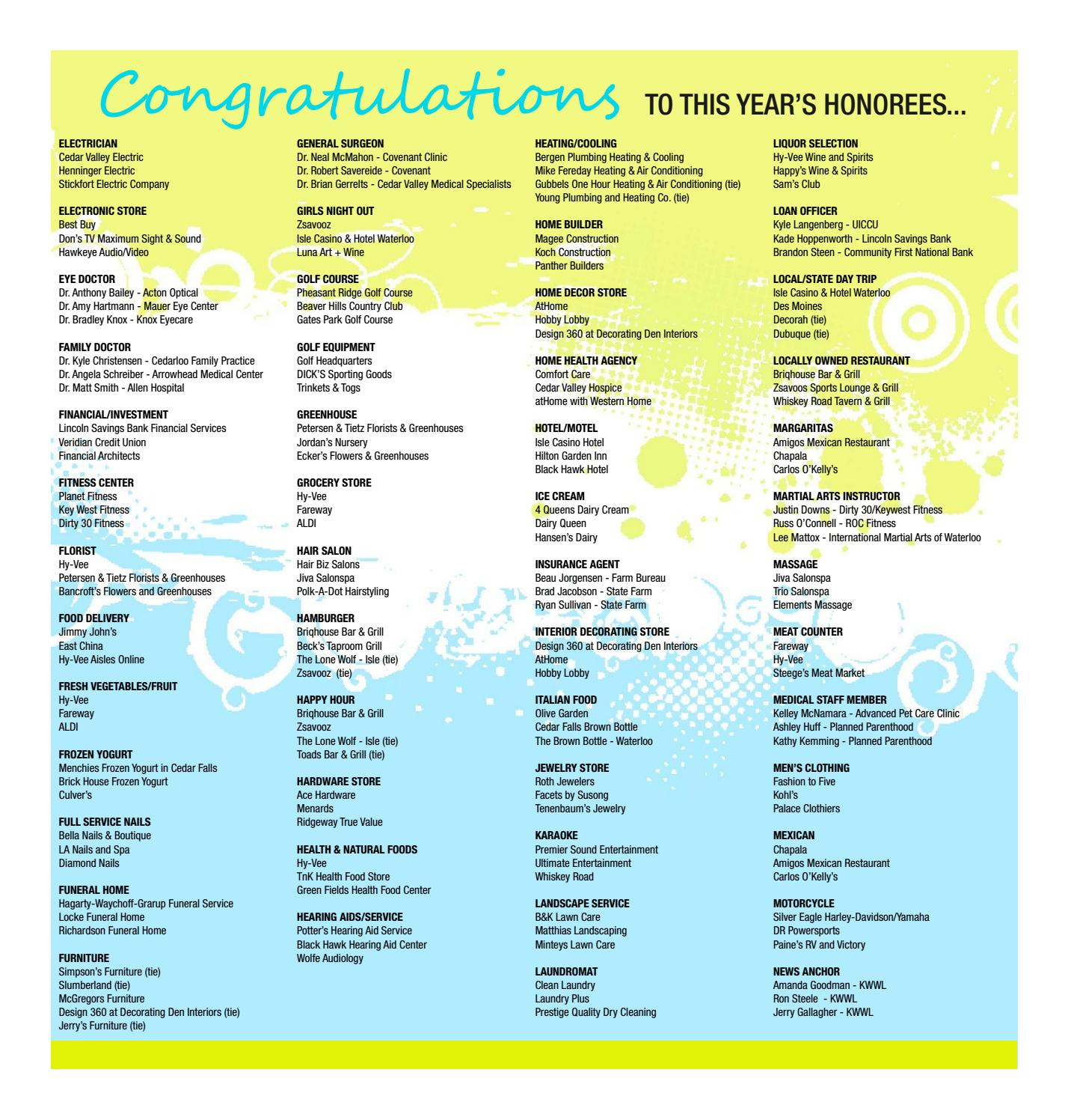 Best Of The Best 2016 by Waterloo-Cedar Falls Courier - issuu