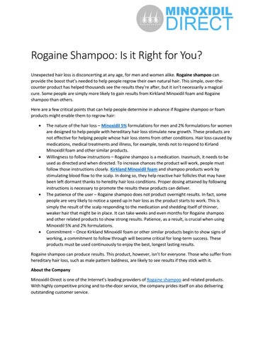 Rogaine Shampoo Is It Right For You By Minoxidil Direct Issuu
