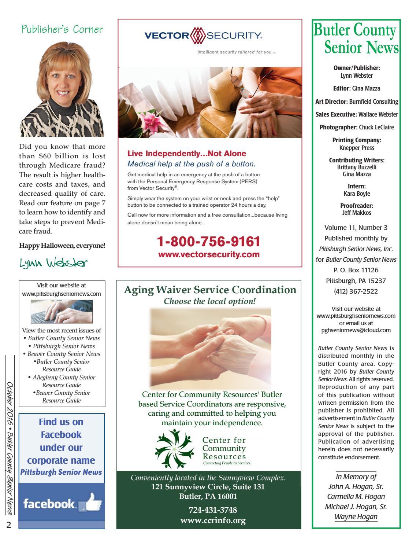 October 2016 Butler County Senior News by Pittsburgh Senior