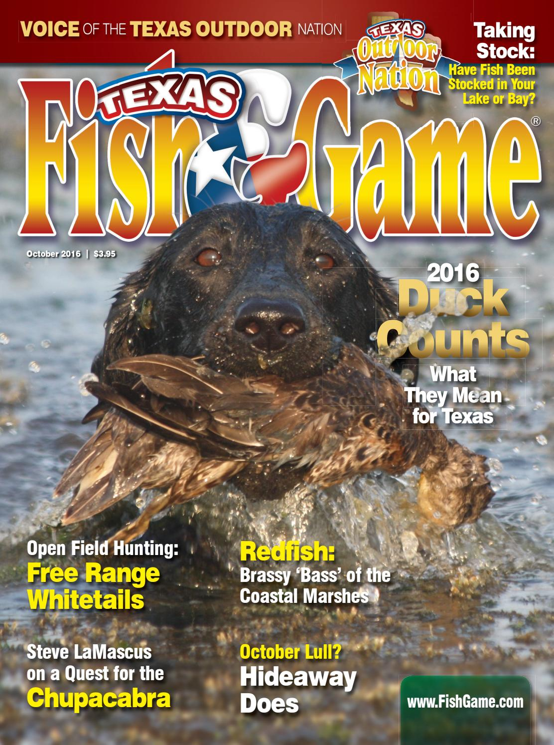 Texas fish game october 2016 by texas fishing and for Texas fish and game