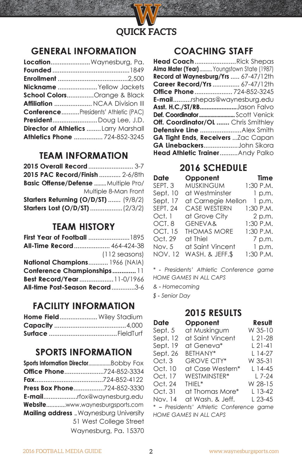2016 Waynesburg Football Guide by Waynesburg University - issuu