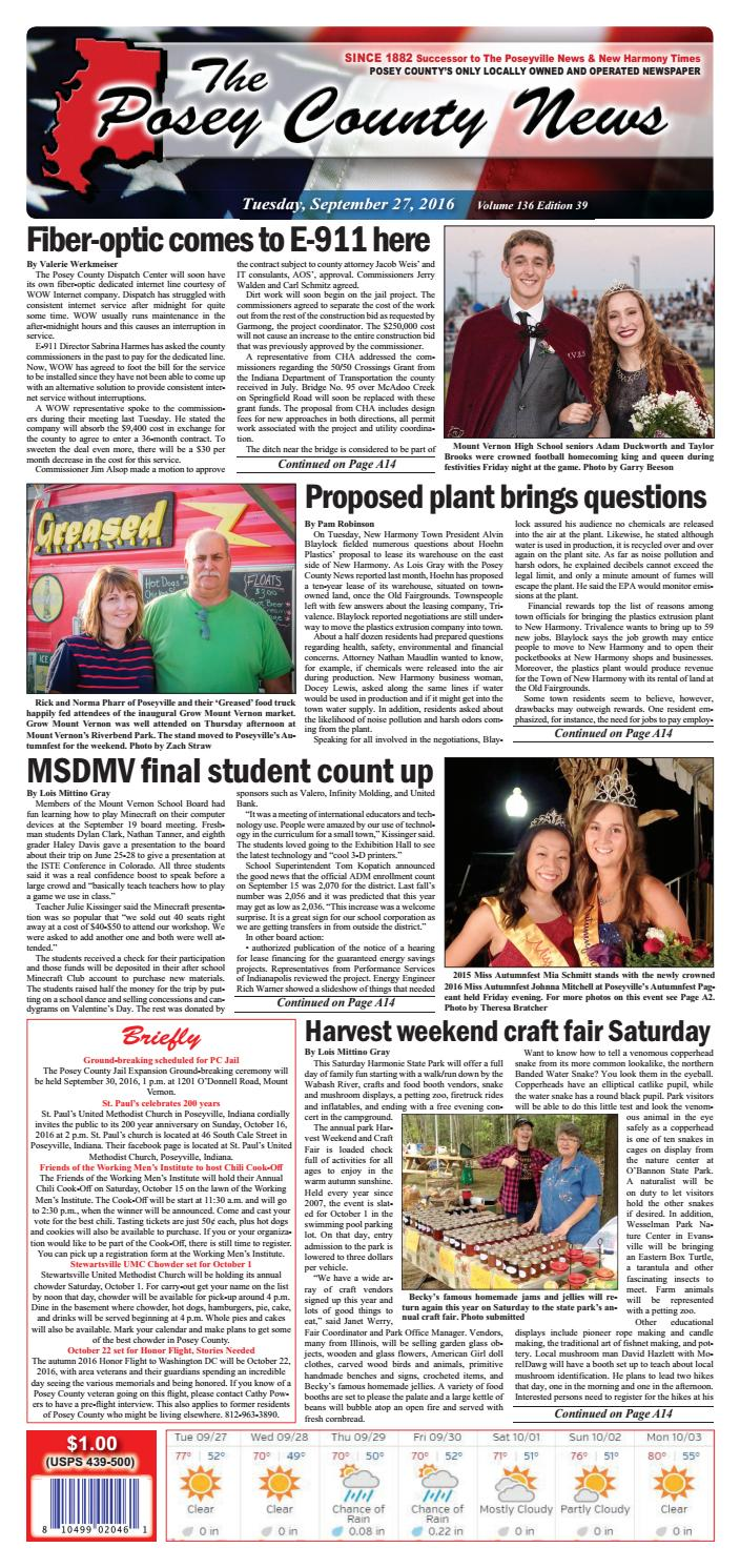 September 27, 2016  The Posey County News By The Posey County News  Issuu