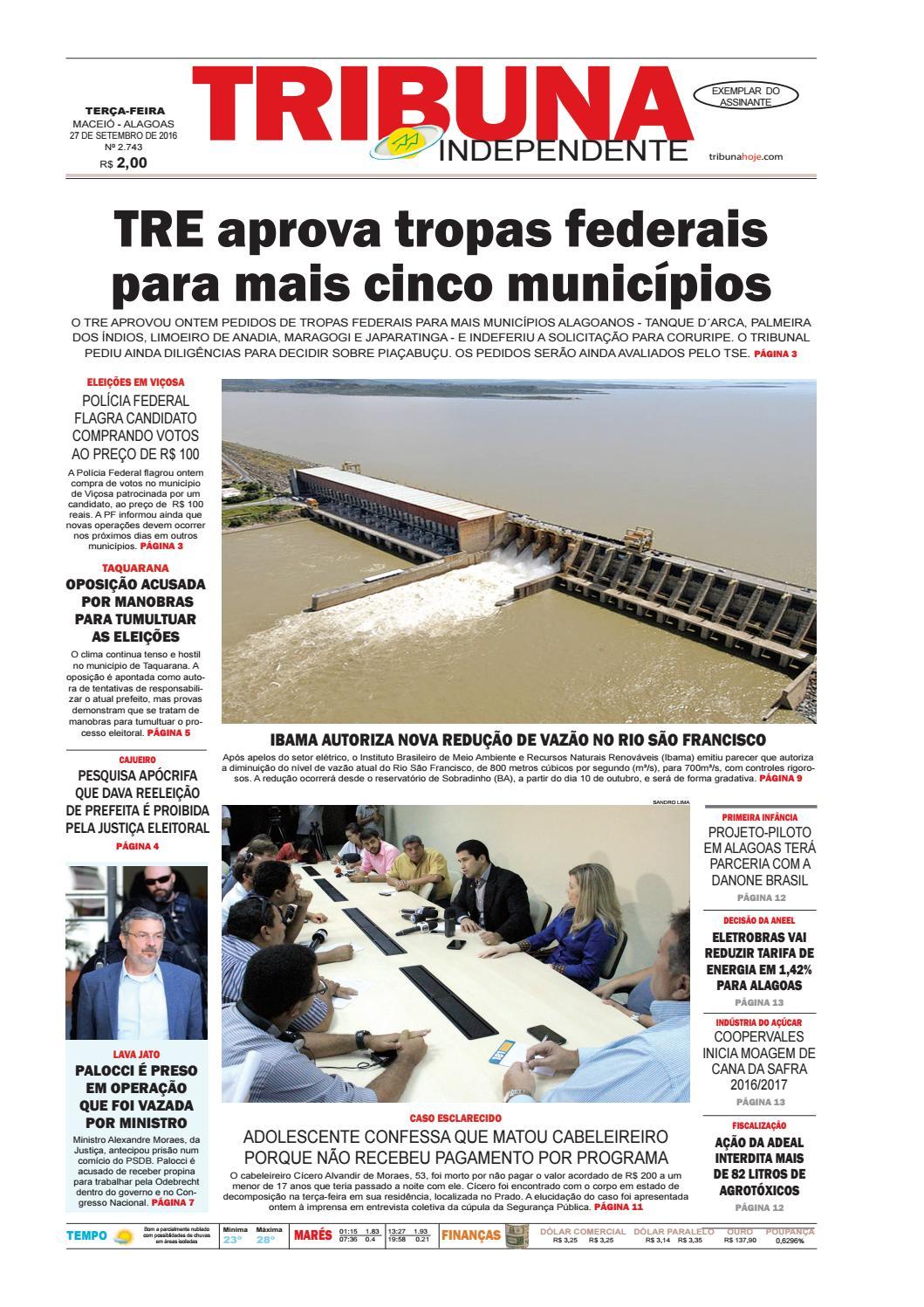 c81972358 Edição número 2743 - 27 de setembro de 2016 by Tribuna Hoje - issuu