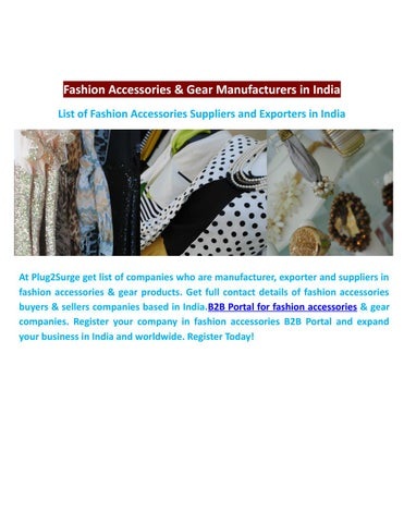 Fashion accessories and gear manufacturers in india by