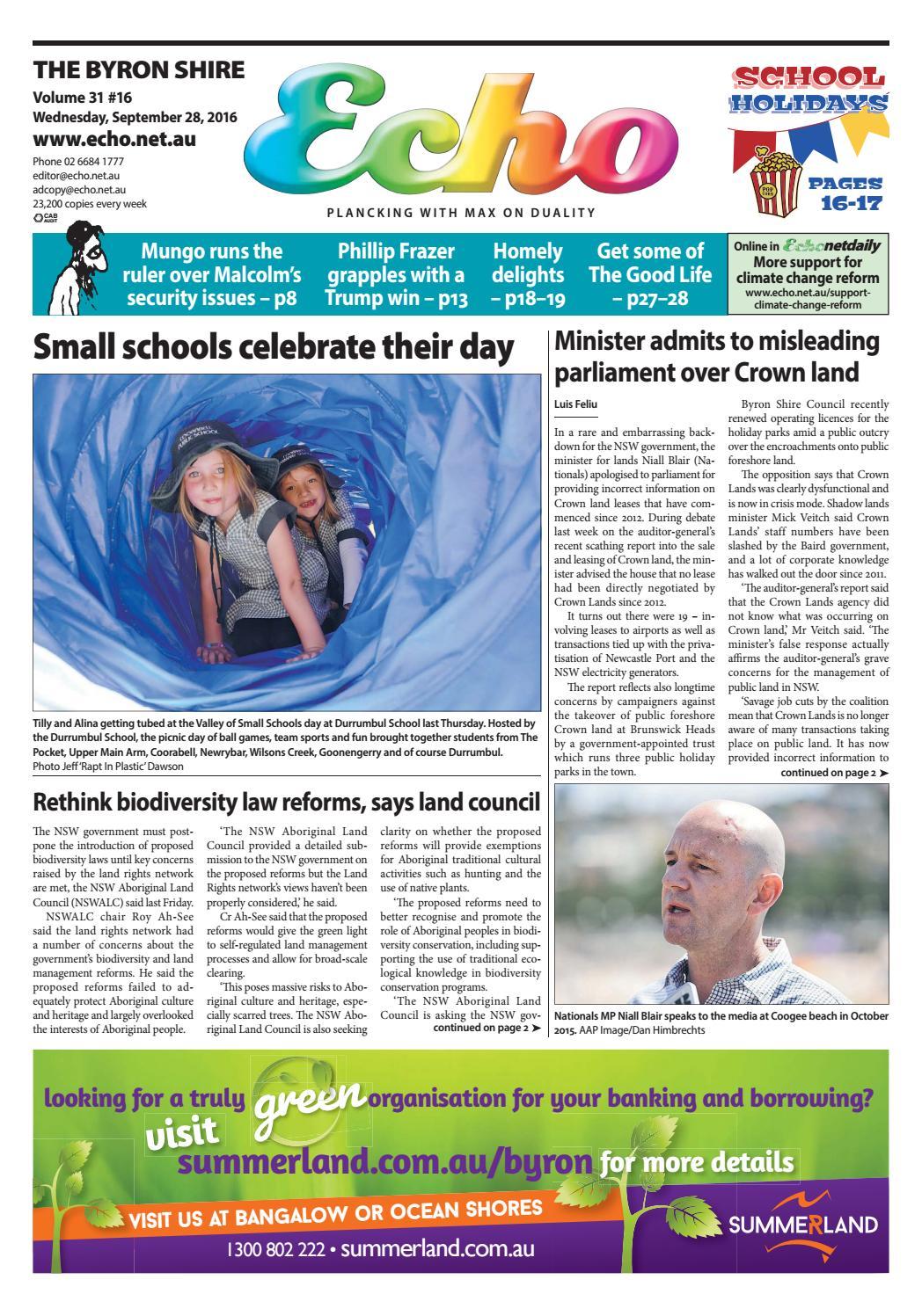 3ce1d1eb8 Byron Shire Echo – Issue 31.16 – 28/09/2016 by Echo Publications - issuu