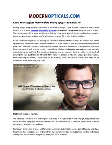 4805a99ea9b5 Know your eyeglass frame before buying eyeglasses in houston by ...