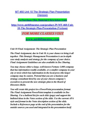 Mt 460 unit 10 the strategic plan presentation / mt460mentor