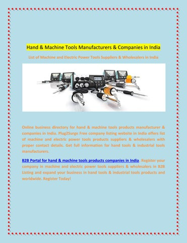 Hand and machine tools manufacturers and companies in india