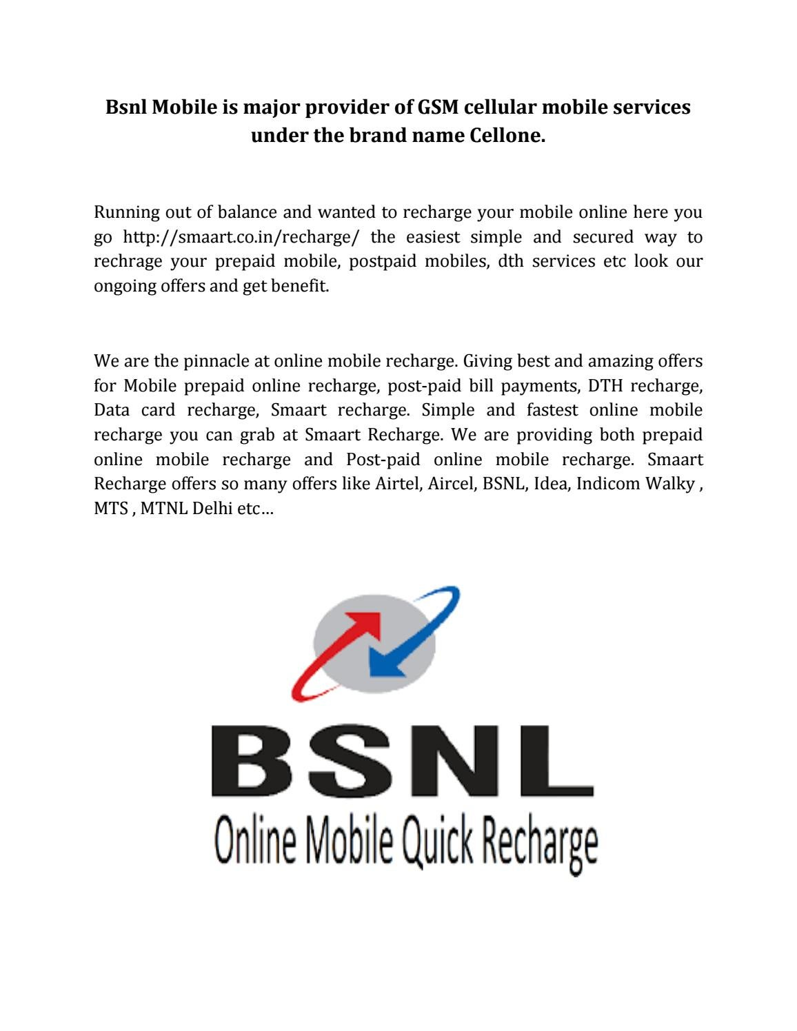 Bsnl Mobile is major provider of GSM cellular mobile
