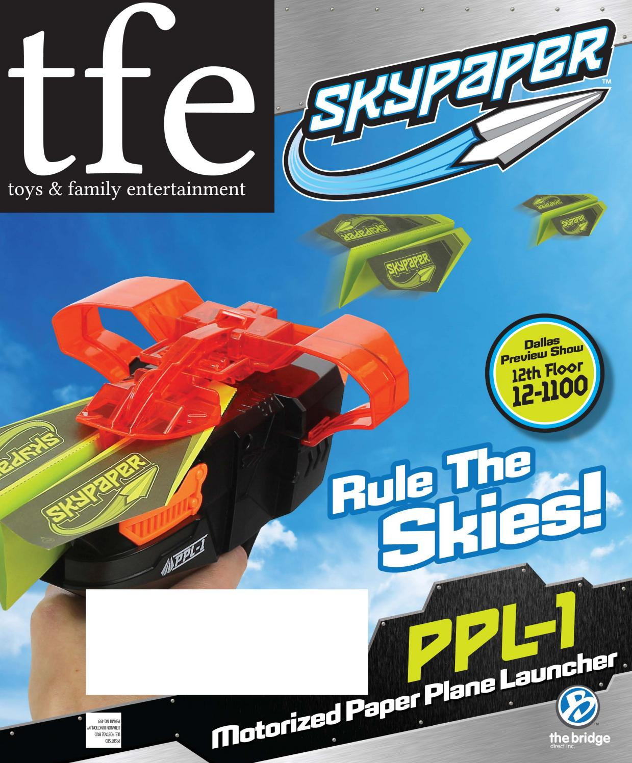New Skypaper PPL-1 Paper Plane Launcher w//24 Planes Choice of White or Black