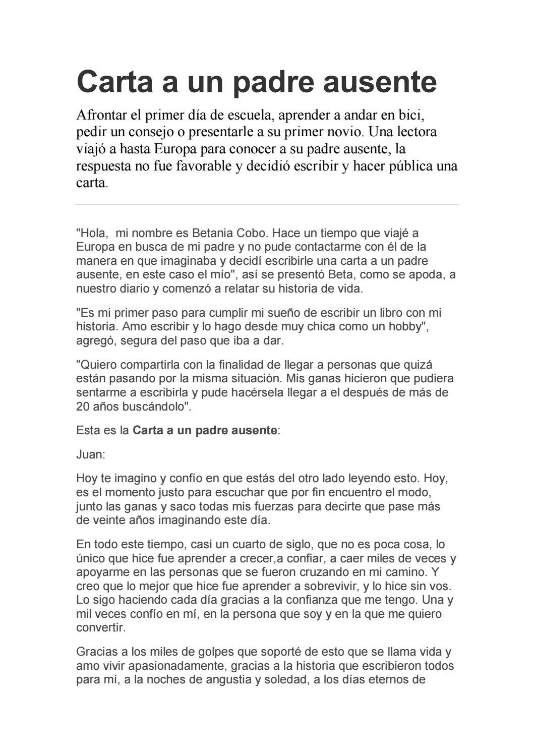 Carta A Un Padre Ausente By Carolina Adamo Issuu