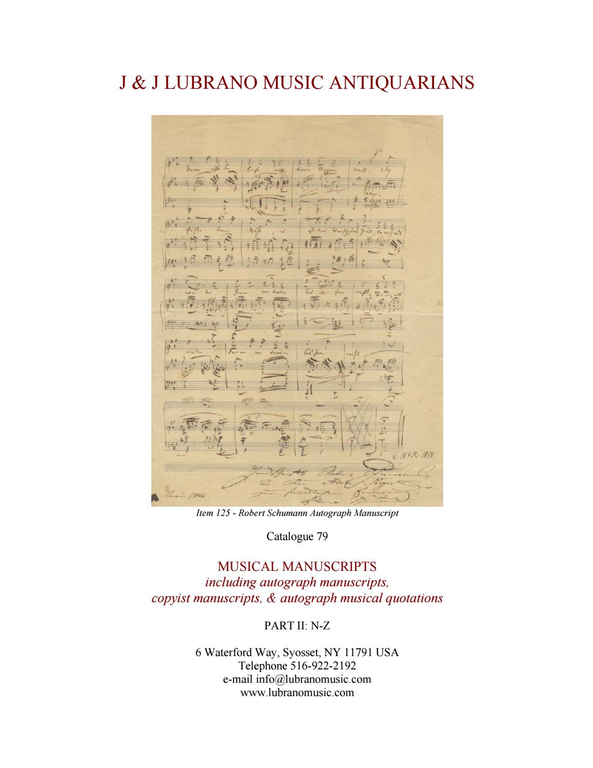 Catalogue 79 - MUSICAL MANUSCRIPTS, Part II: N-Z by J & J