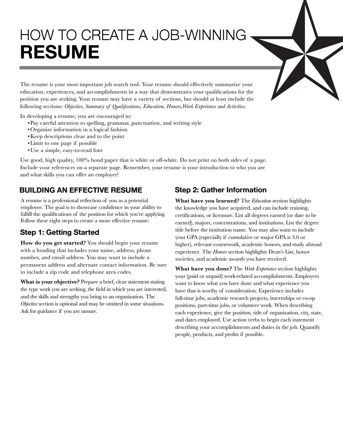 Resume by Texas State University Career Services issuu