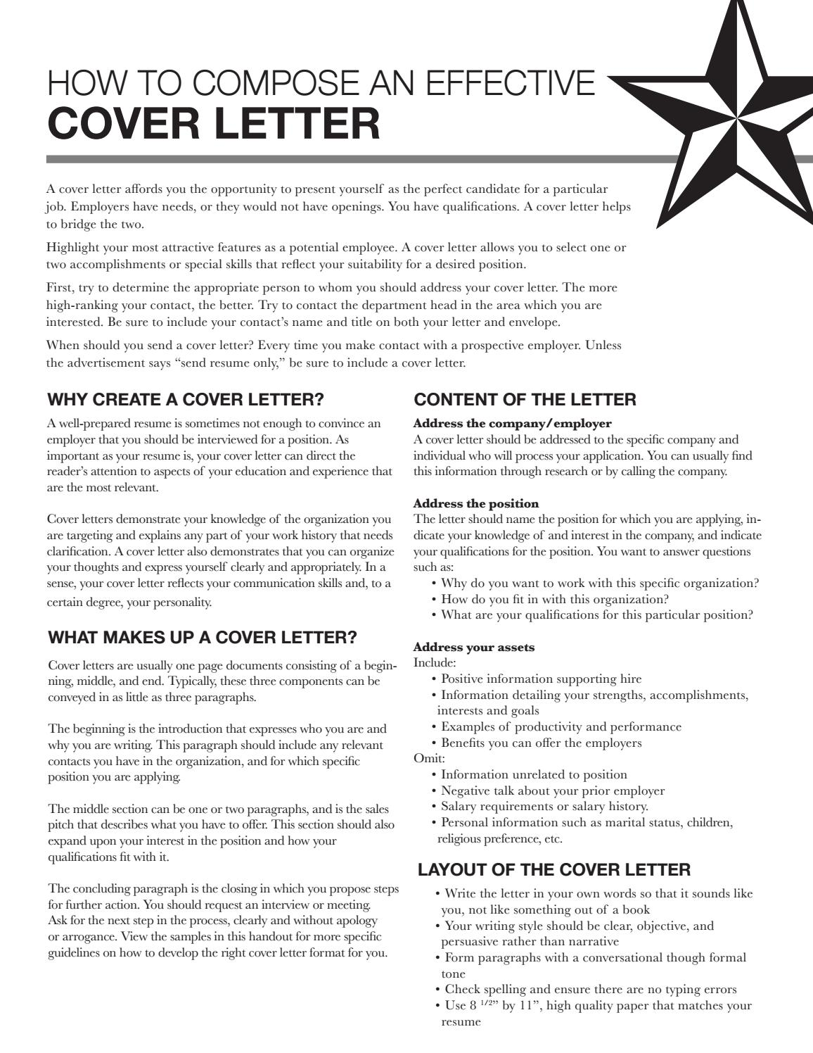 cover letter by texas state university career services