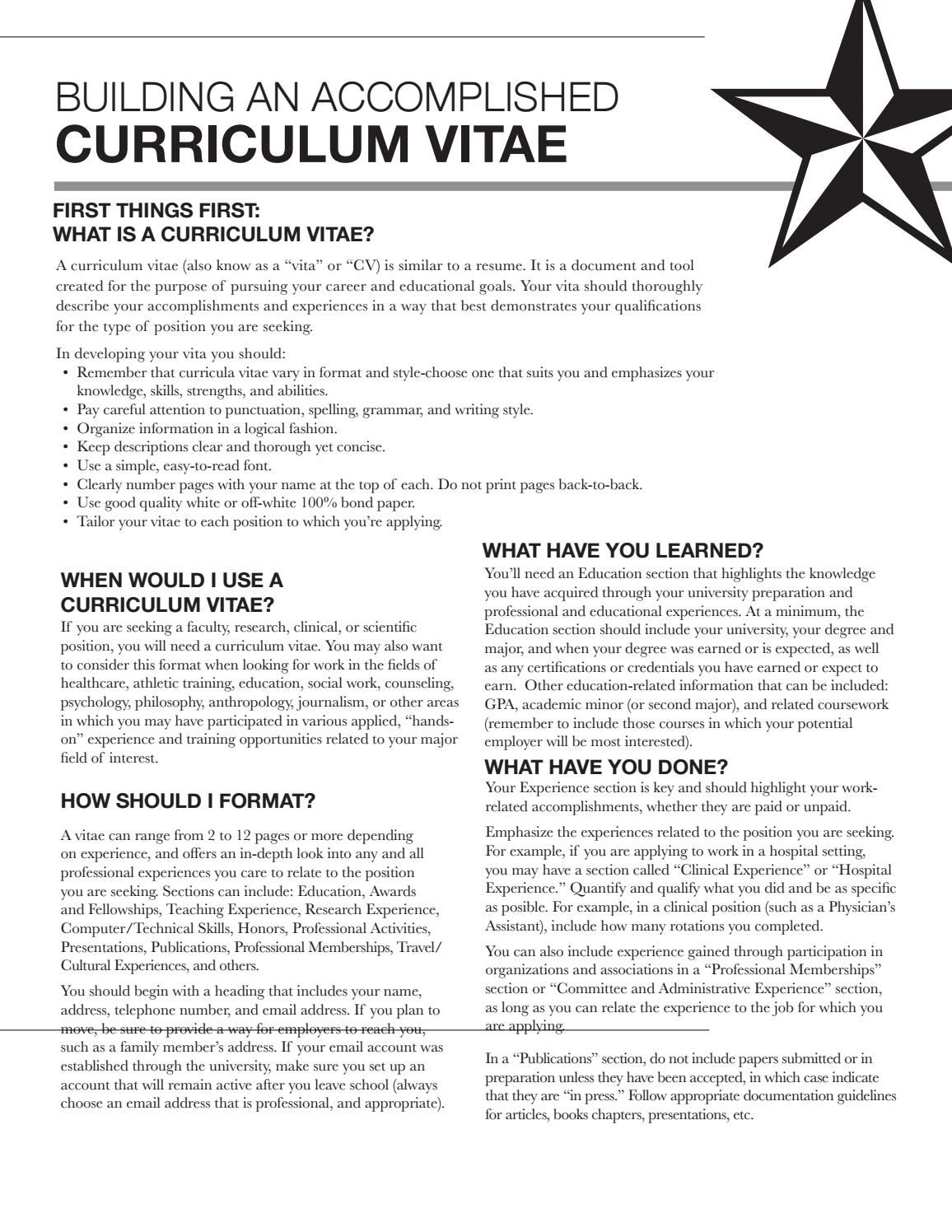 Curriculum Vitae By Texas State University Career Services Issuu