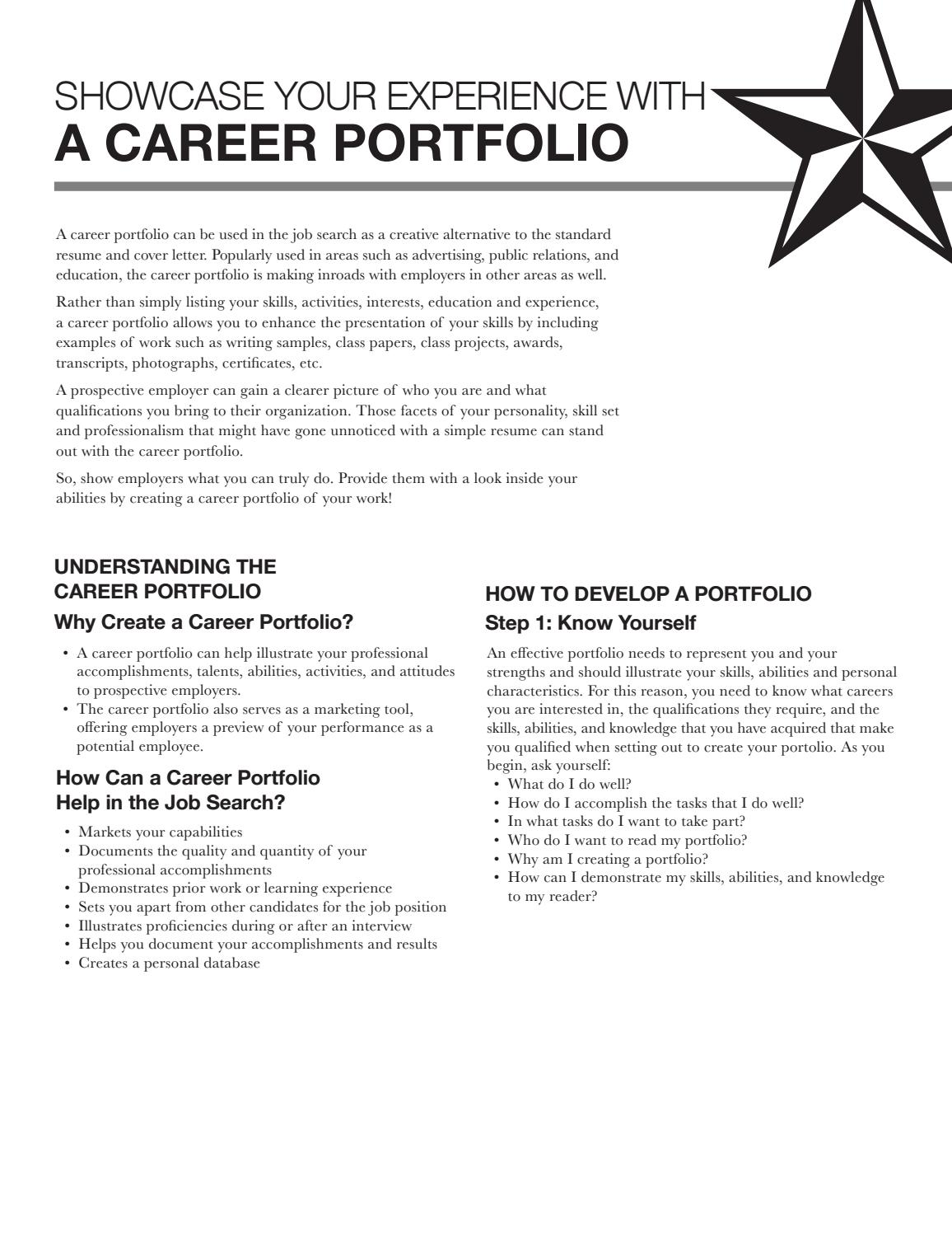 career portfolio by texas state university career services