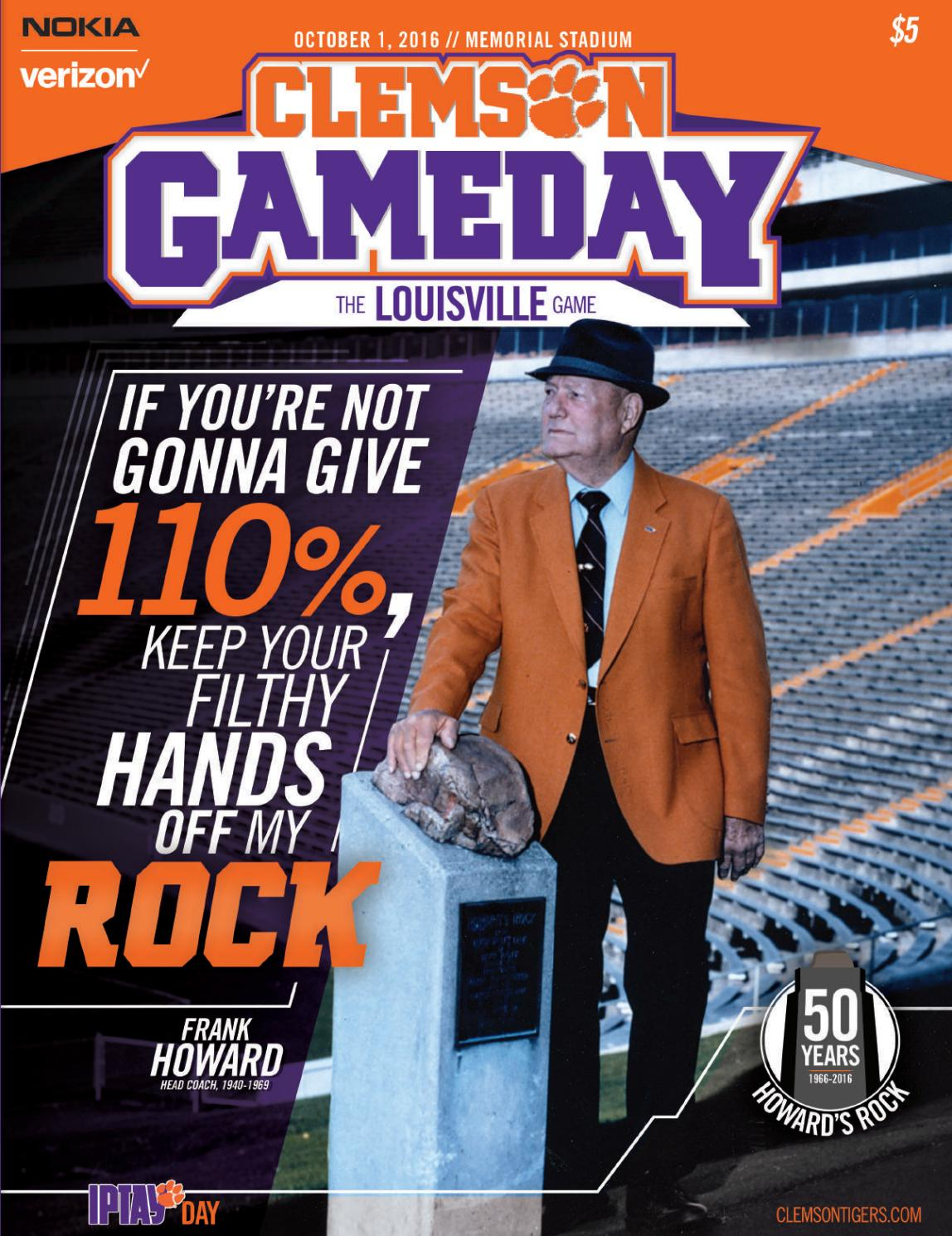 Clemson Football 2016 Louisville Gameday Program By
