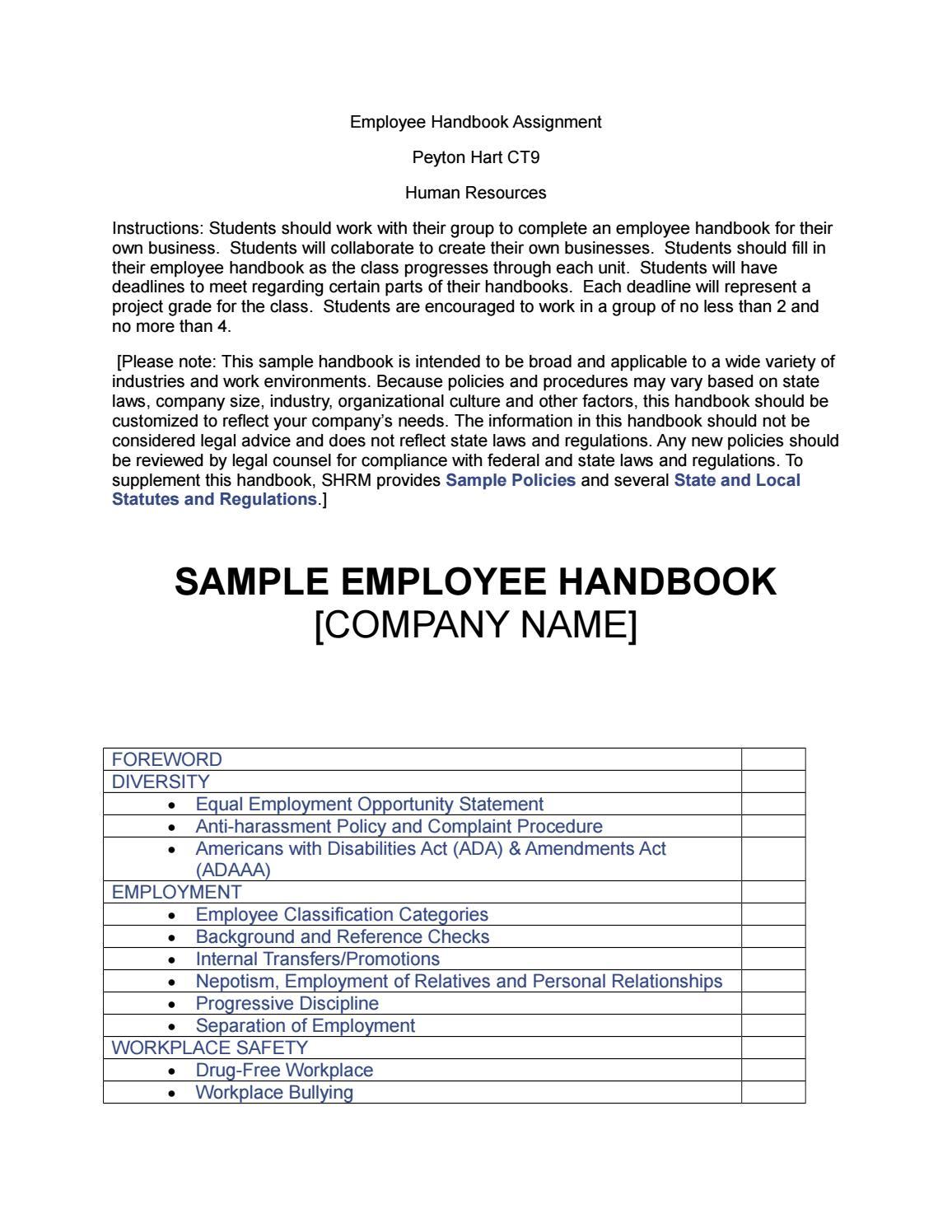 Employee Handbook Template By Peyton Hart Issuu