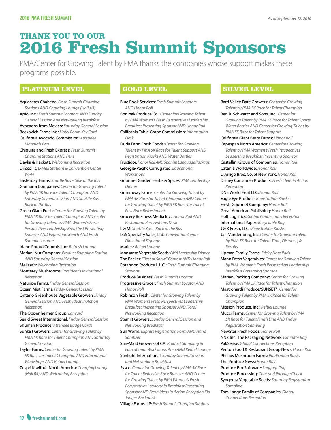 2016 Fresh Summit Directory by Produce Marketing Association