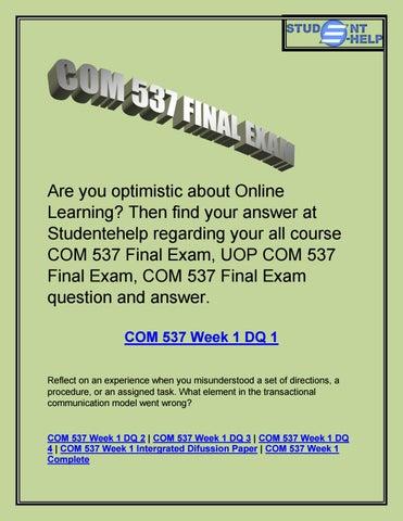 COM 537 Final Exam Question And Answer - COM 537 Final Exam