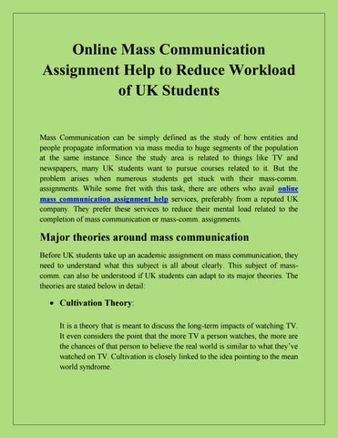 Online Mass Communication Assignment Help to Reduce Workload of UK