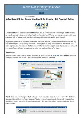 Agfed Credit Union Classic Visa Credit Card Login Bill Payment