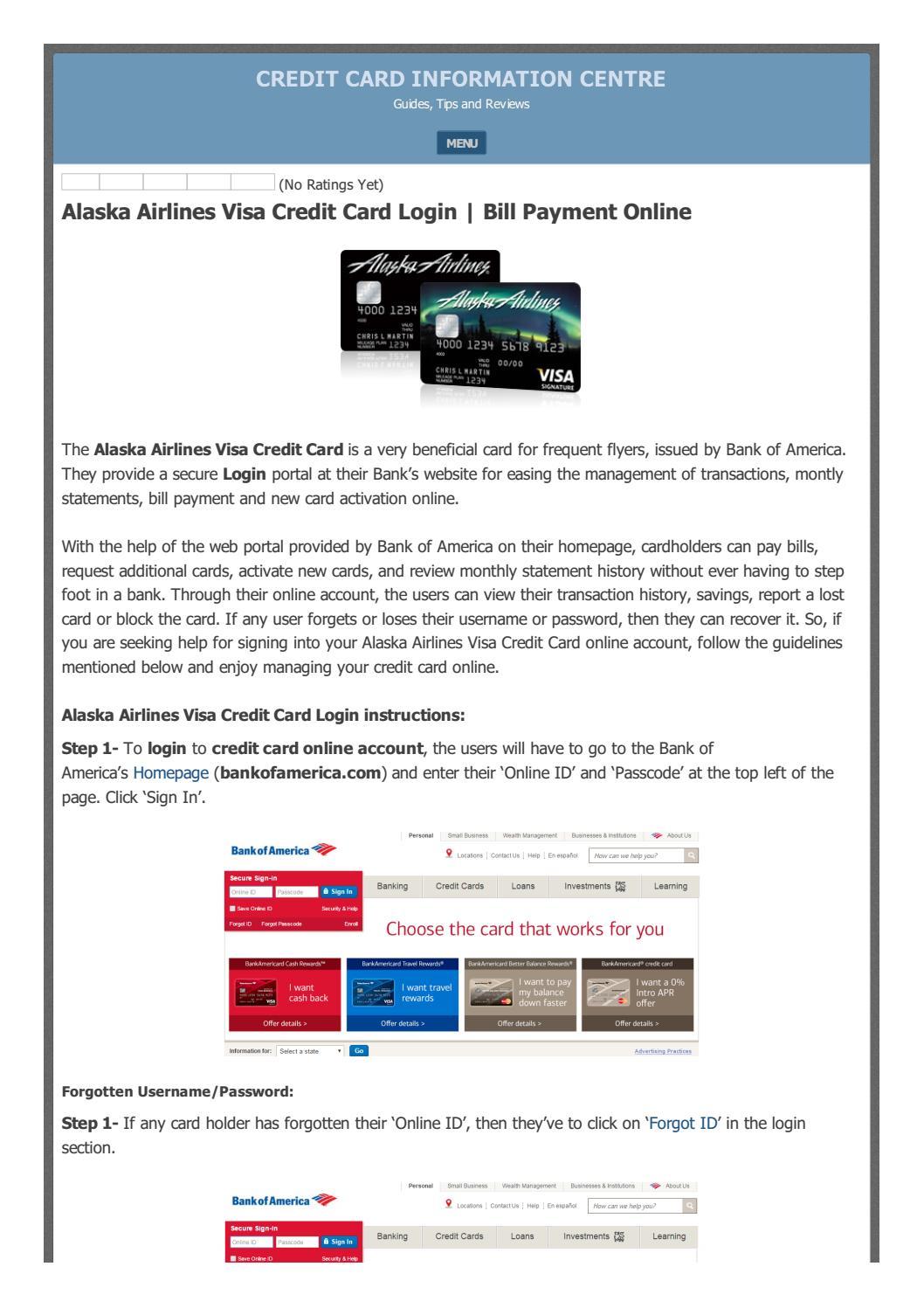 Alaska Credit Card Login >> Alaska Airlines Visa Credit Card Login Make A Payment Online