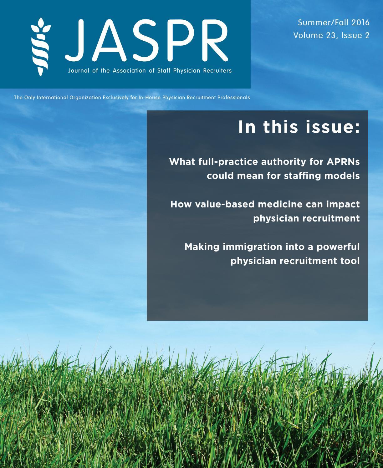 Summer/Fall 2016 Journal of ASPR by Association for