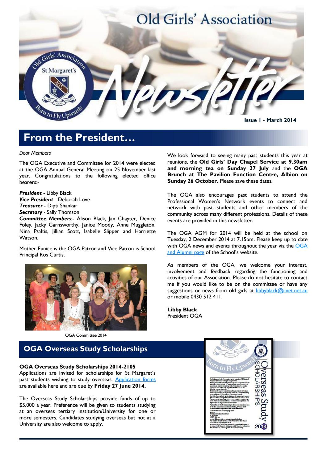 OGA Newsletter April 2014 By St Margaretu0027s Anglican Girls School   Issuu