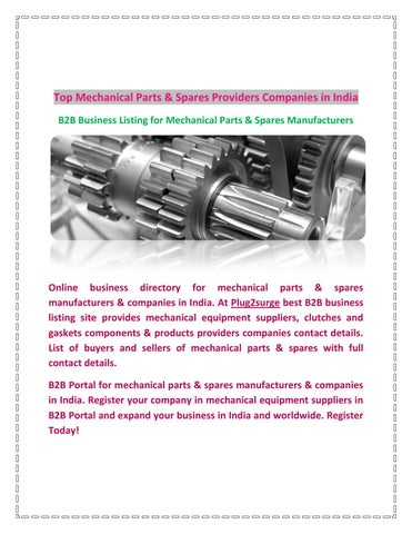 Mechanical parts and spares providers companies in india by