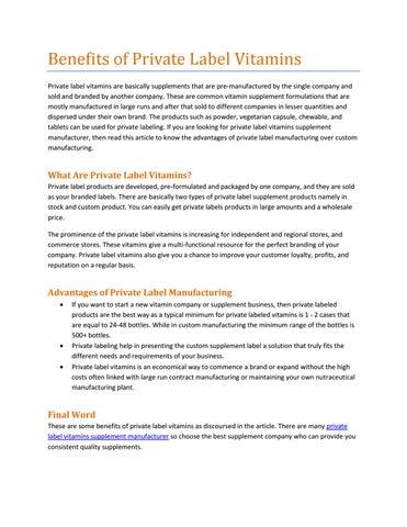 Private label vitamins supplement manufacturer by jamesstach - issuu