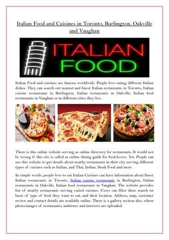 Italian Food And Cuisines In Toronto Burlington Oakville Vaughan