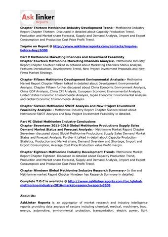 Global Methionine Market Development Trend and Industry