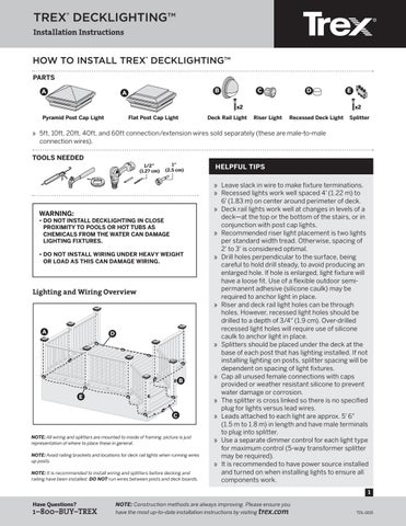Trex deck lighting installation guide 2016 by timbertown issuu trex decklighting installation instructions aloadofball Gallery