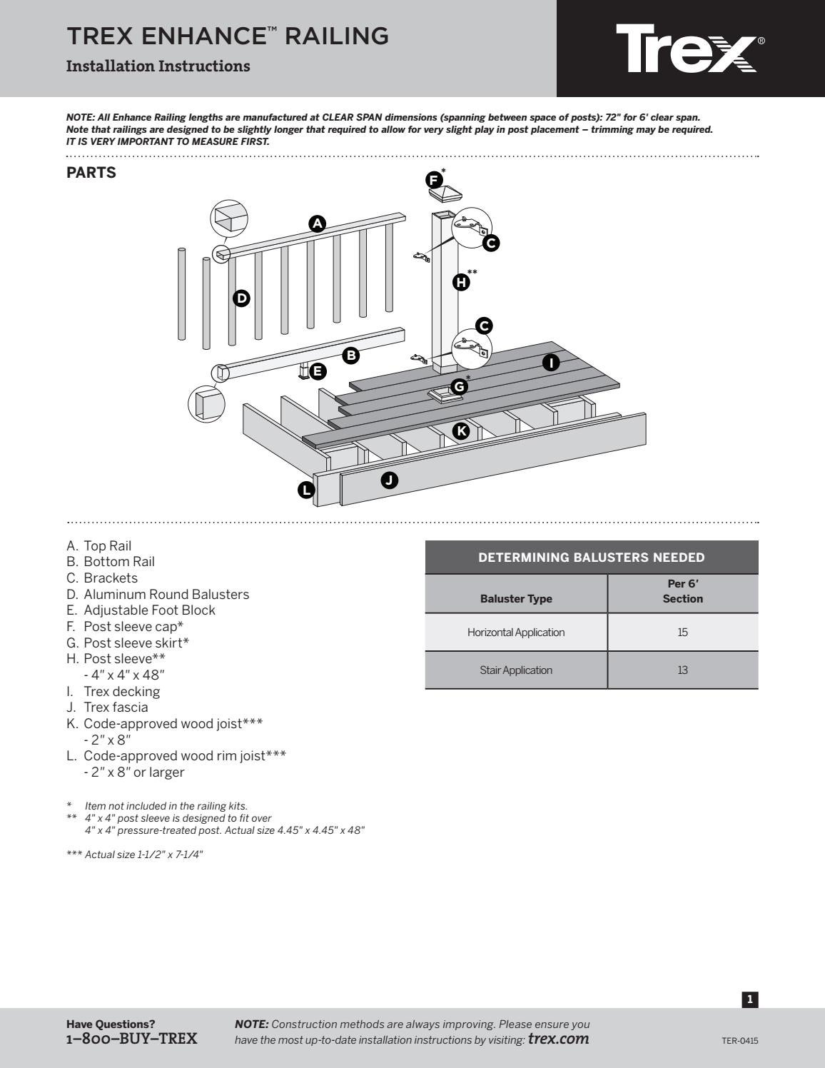 Trex Enhance Railing Install Instructions 2016 By