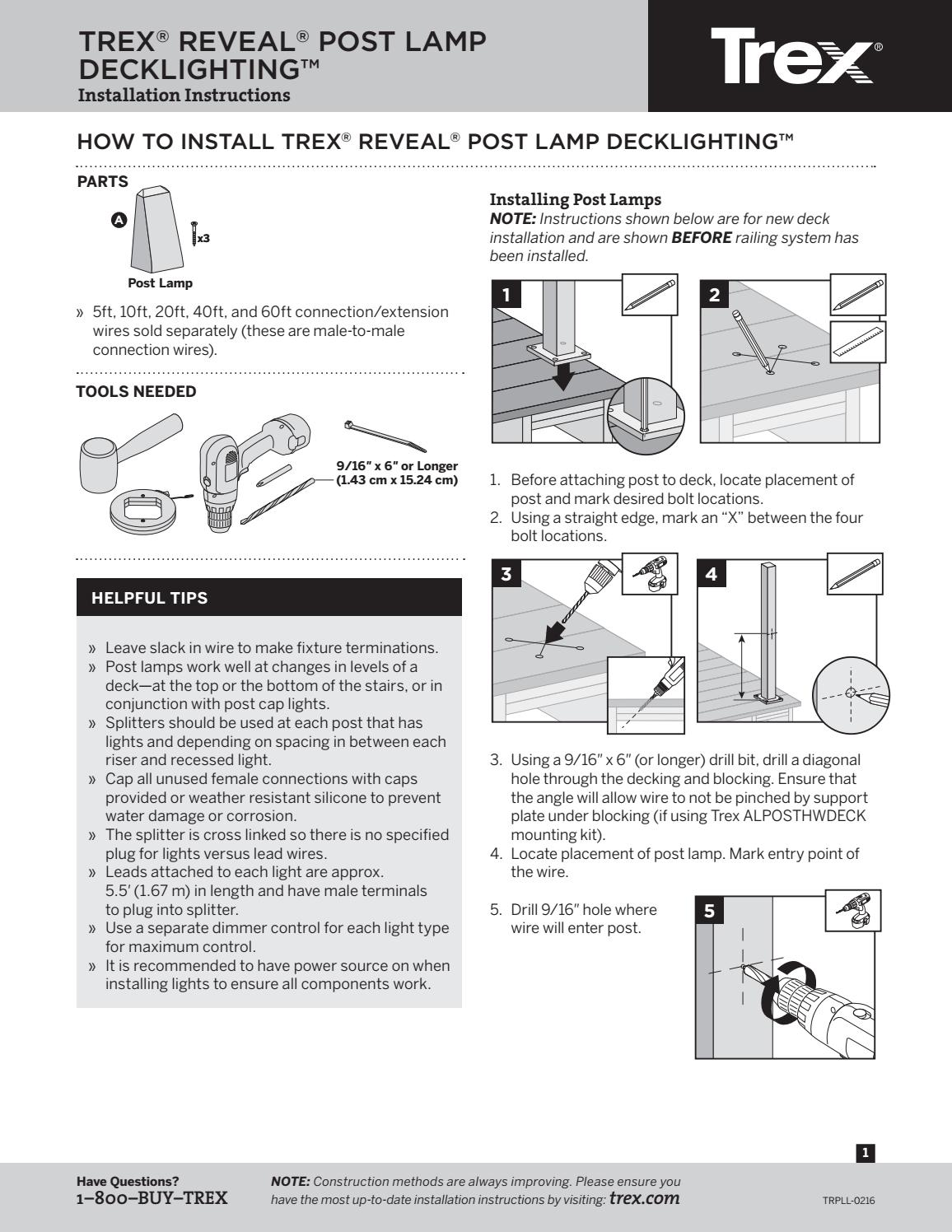 Trex Reveal Lighting Post Lamp Install Guide by TimberTown ... on