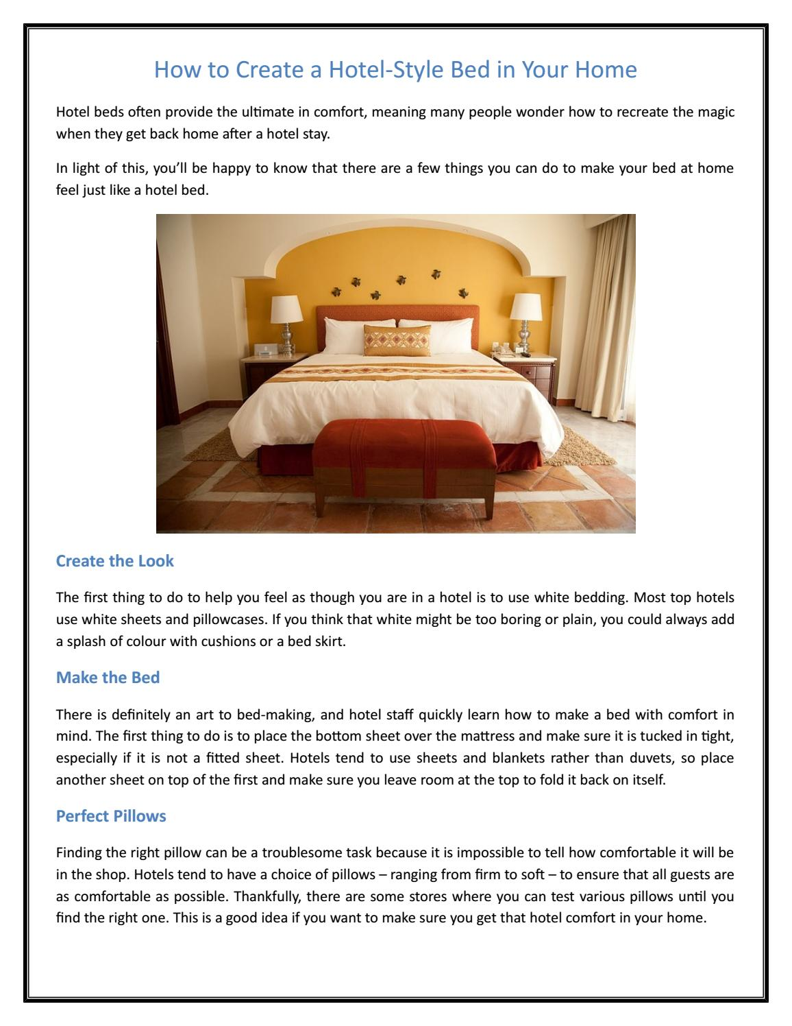 How To Create A Hotel Style Bed In Your Home By Colinarmstrong Issuu