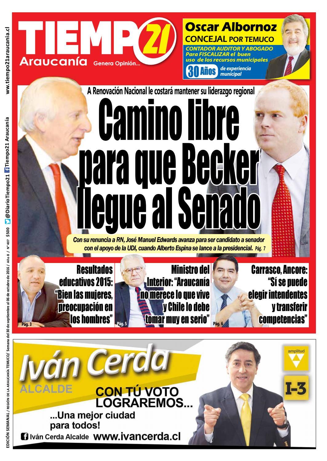 Edici N 407 Camino Libre Para Que Becker Llegue Al Senado By  # Muebles Jouannet Temuco