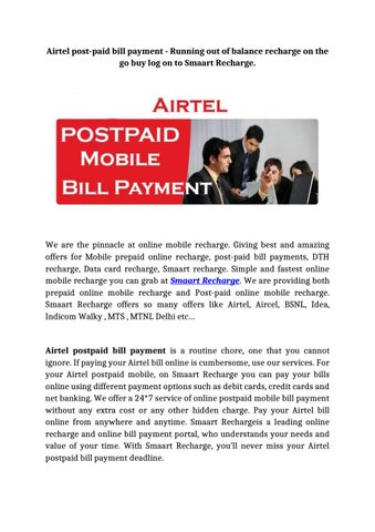 Airtel post paid bill payment running out of balance recharge on the
