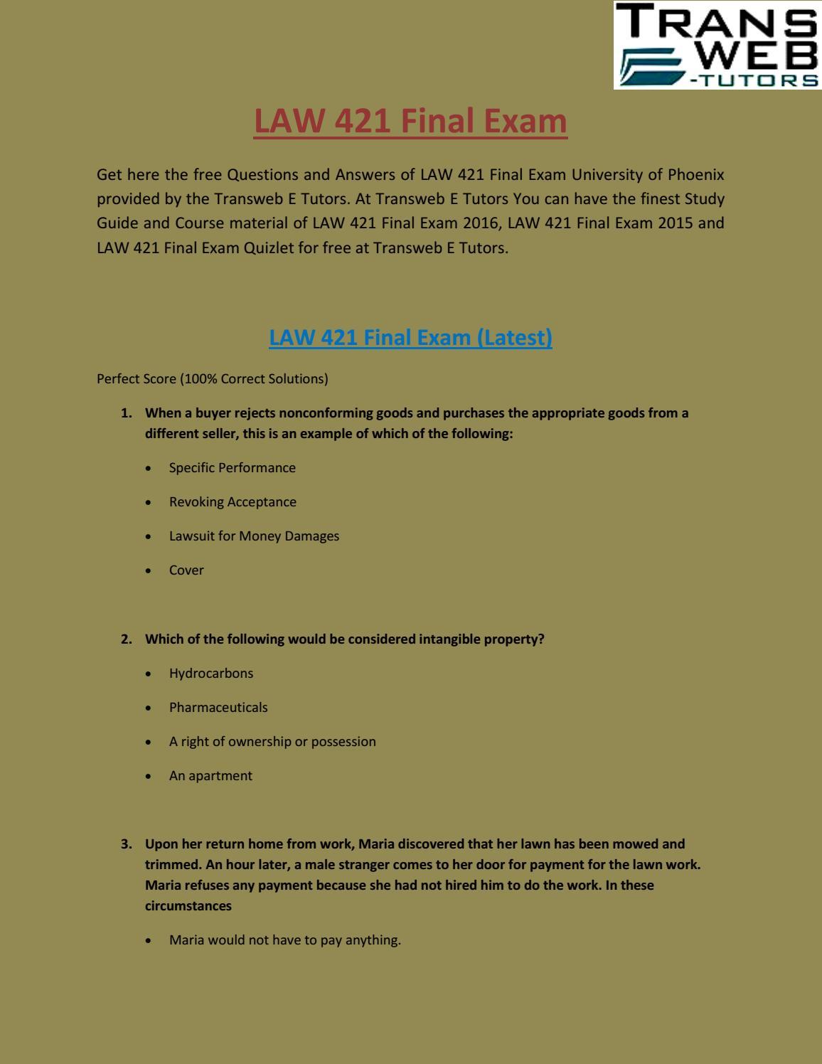 LAW 421 Final Exam | LAW 421 Final Exam Answers for Free: Transweb E Tutors  by Transweb E Tutors - issuu