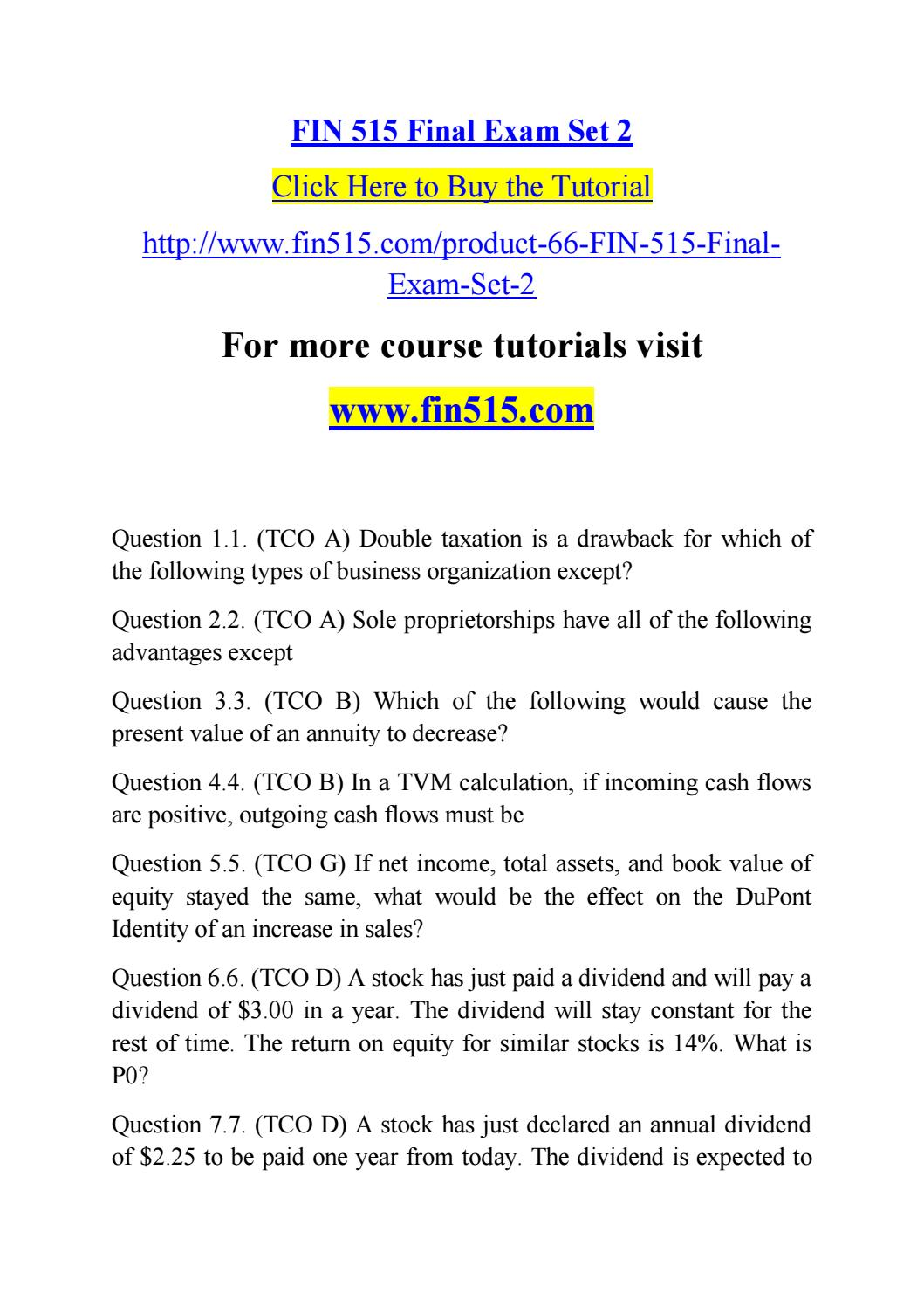 fin 515 final exam Uploading copyrighted material is strictly prohibited refer to our dmca policy for more information this is an online marketplace for best solutions and homework help all the content is provided by third parties and experts of homeworkminutescom.