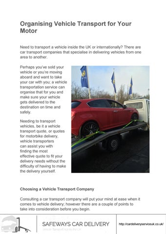 Car Transport Quote >> Organising Vehicle Transport For Your Motor By Safeways Car
