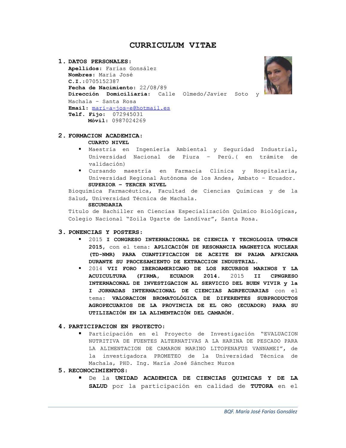 Cv Maria Jose Farias By Faustodutan2 Issuu