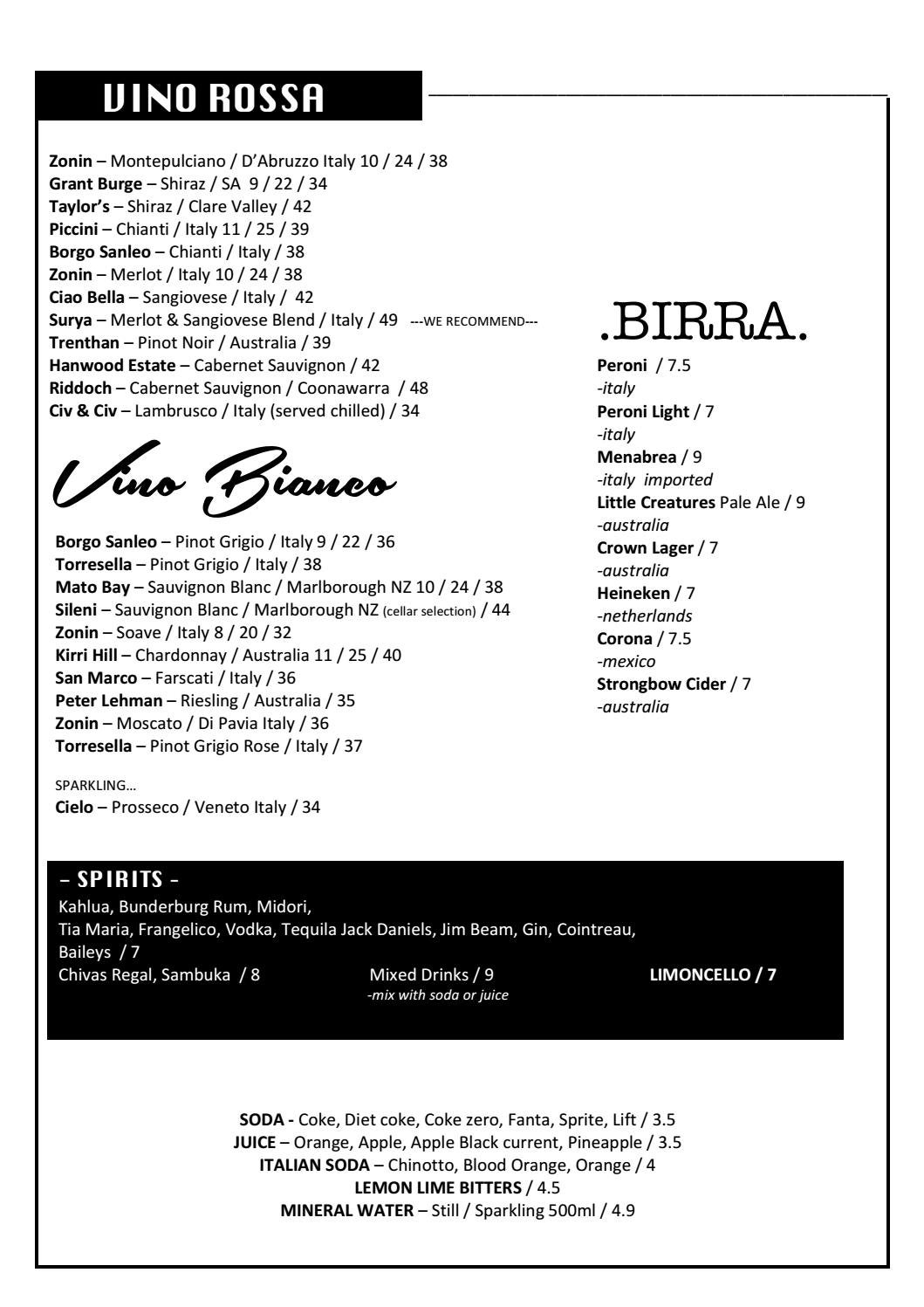 Marina Lunga Beverage Menu for Corporate and Party Catering Balmain ...