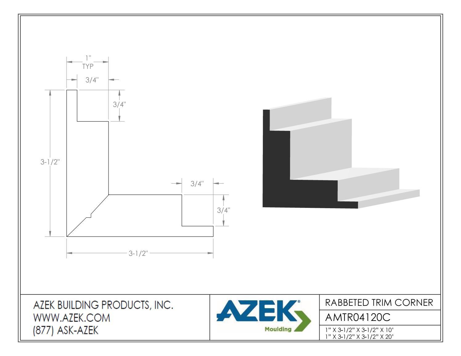 Azek Moulding 4 in Rabbeted Cornerboard Specifications by