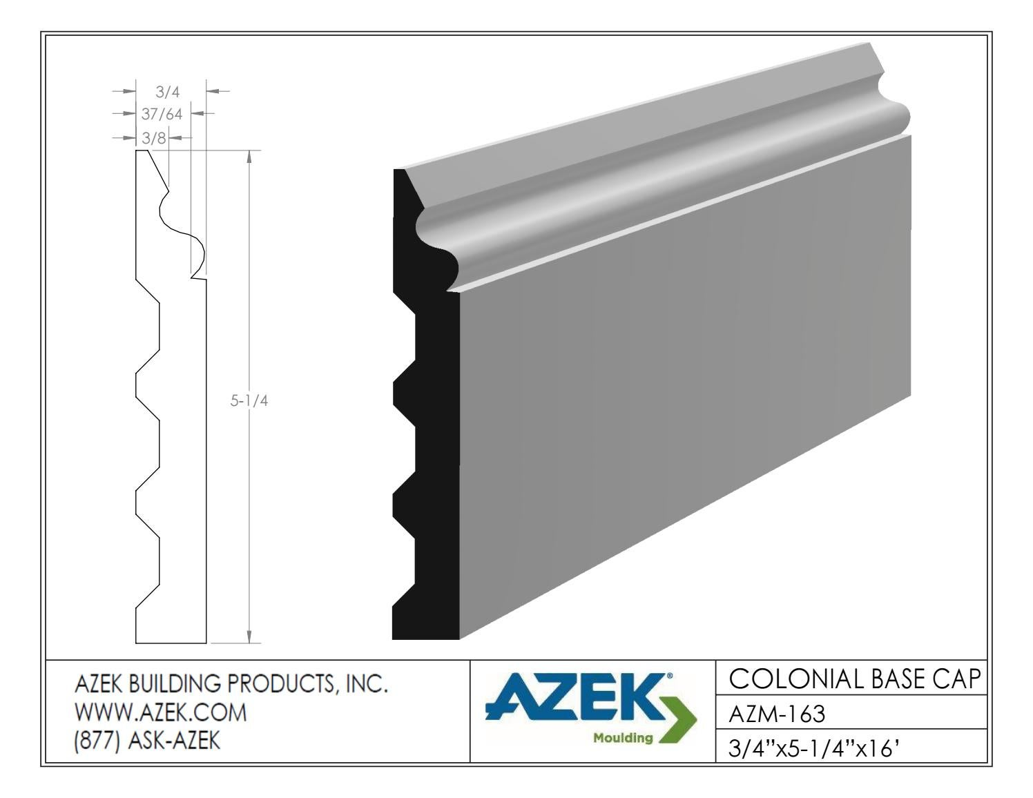 Azek Moulding Colonial Base Cap AZM 163 Specifications by