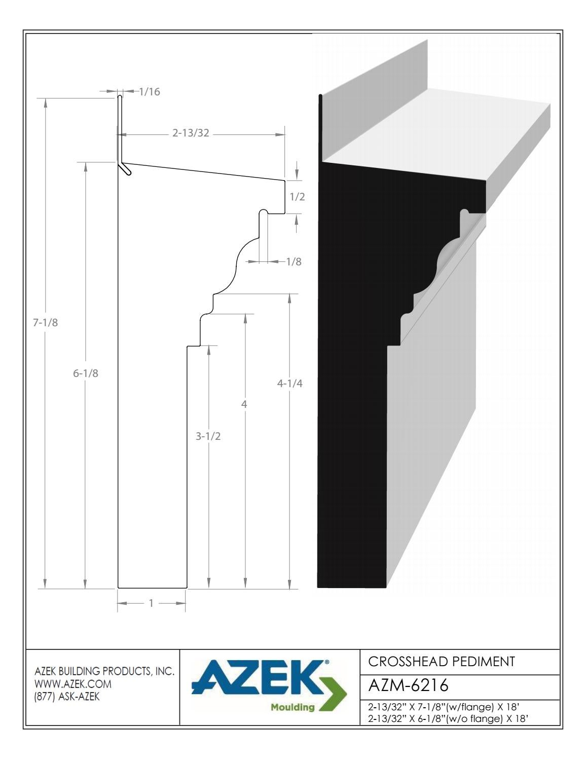 Azek Moulding Crosshead Pediment AZM 6216 Specifications by