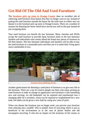 Get Rid Of The Old And Used Furniture by OC Junk Hauling issuu