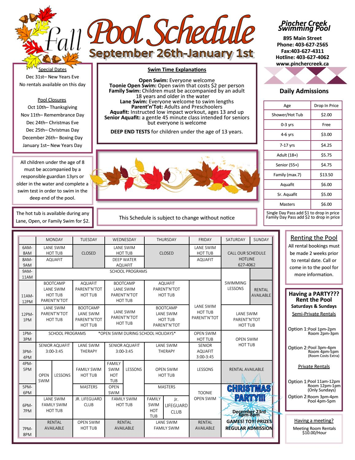2016 fall schedule by town of pincher creek issuu for Pincher creek swimming pool schedule