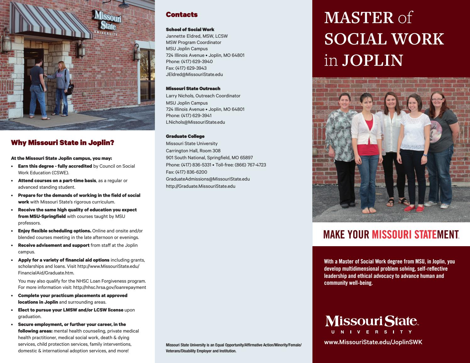 Master Of Social Work In Joplin By Missouri State